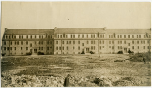 Class B dormitory during construction, Norfolk Prison Colony