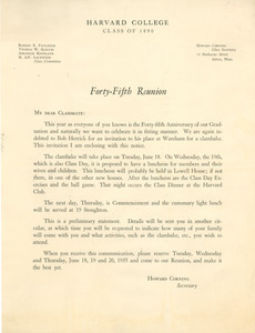 Circular letter from Harvard College Class of 1890
