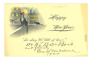 Greeting card from George W. Mitchell to W. E. B Du Bois and family