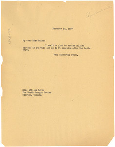 Letter from W. E. B. Du Bois to North Georgia Review