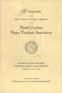 Program of the fifty-fourth annual meeting of the North Carolina Negro Teachers Association