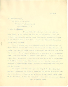 Letter from W. E. B. Du Bois to Frances Hoggan