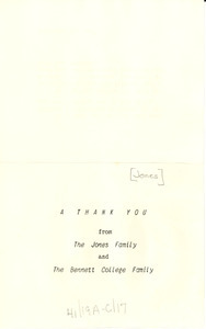 Thank you note from Jones family and Bennett College family to W. E. B. Du Bois