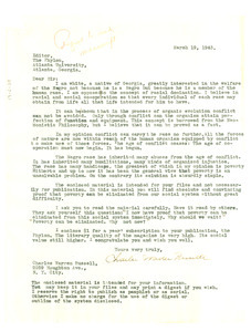 Letter from Charles Warren Russell to the Editor of Phylon
