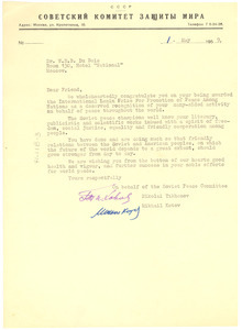 Letter from Soviet Peace Committee to W. E. B. Du Bois