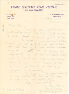 Letter from Tagore Centenary Peace Festival to W. E. B. Du Bois