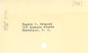 Address for Eugene M. Gregory