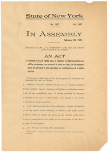 An act to amend the civil rights law, in relation to discriminations by utility companies, on account of race or color, in the employment of persons in the operation or maintenance of a public service