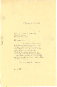 Letter from W. E. B. Du Bois to William R. Comings
