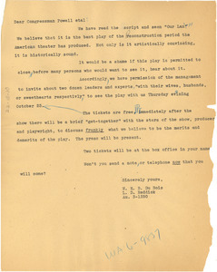 Circular letter from W. E. B. Du Bois and L. D. Reddick to Congressman Powell et al