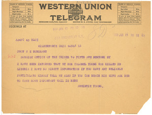 Telegram from Armintie Young to W. E. B. Du Bois