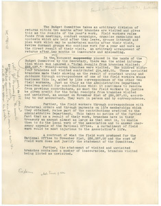 Fragment concerning the N.A.A.C.P. Budget Committee