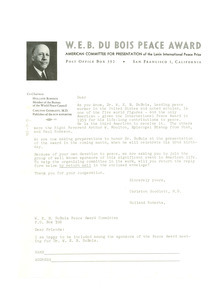 Circular letter from W. E. B. Du Bois Peace Award Committee to unidentified correspondent