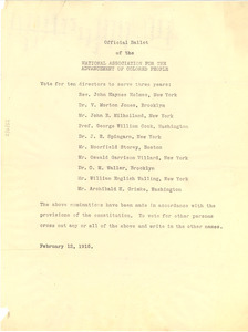 Official ballot of the National Association for the Advancement of Colored People