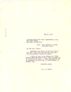 Letter from W. E. B. Du Bois to Americans United for World Organizations