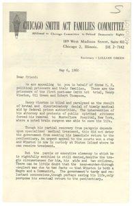 Circular letter from Chicago Smith Act Families Committee to W. E. B. Du Bois