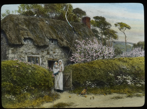 Cottage Gate, Spring (woman with child at garden entrance)