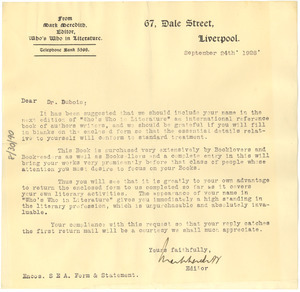 Letter from Who's Who in Literature to W. E. B. Du Bois
