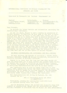 Letter from Student Conference for Nuclear Disarmament to W. E. B. Du Bois