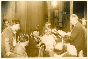 W. E. B. Du Bois seated in group at Afro-Asian Writers Conference, Tashkent