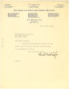 Letter from Annie M. Dingle to Marvel K. Jackson Cooke