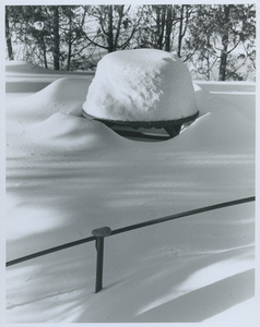 Table and benches in snow
