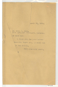 Letter from W. E. B. Du Bois to Otto F. Mack