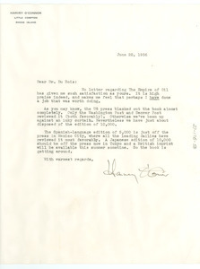 Letter from Harvey O'Connor to W. E. B. Du Bois