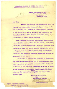 Letter from National Congress of British West Africa to Robert Broadhurst
