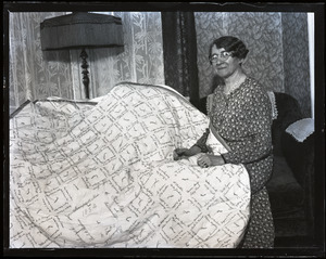 Autographed quilt and Lottie (Mrs. Joel U.) Peabody