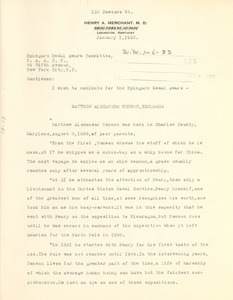 Letter from Henry A. Merchant to Spingarn Medal Award Committee