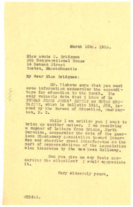 Letter from W. E. B. Du Bois to Annie C. Bridgman