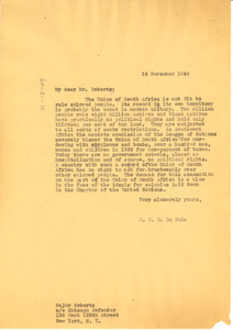Letter from W. E. B. Du Bois to Major Roberts