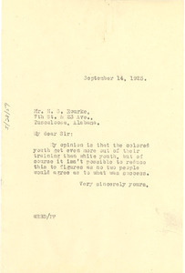 Letter from W. E. B. Du Bois to H. S. Rourke
