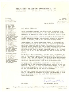 Letter from Religious Freedom Committee to W. E. B. Du Bois