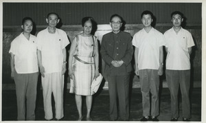 Shirley Graham Du Bois and Guo Moruo standing in group
