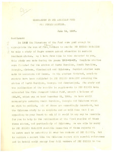 Memorandum from W. E. B. Du Bois to The American Fund for Public Service