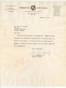 Letter from F. D. Caruthers, Jr. to W. E. B. Du Bois
