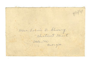 Letter from Nina Du Bois to Louie Shivery