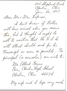 Letter from Don McIlroy to John Xifaras and Gloria Xifaras Clark
