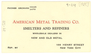 American Metal Trading Co. business card