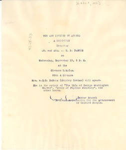 Invitation to a reception honoring Dr. and Mrs. W. E. B. Du Bois
