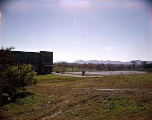 Dickinson Hall and tennis courts, looking to southwest