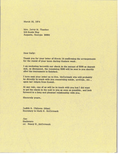 Letter from Judy A. Chilcote to Sally Thacker