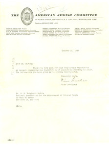 Letter from American Jewish Committee to W. E. B. Du Bois