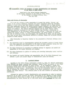 Memorandum on government policy and practices of racial discrimination and oppression in the Union of South Africa