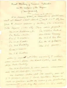 Minutes of the first meeting of persons interested in the welfare of the Negroes of New York