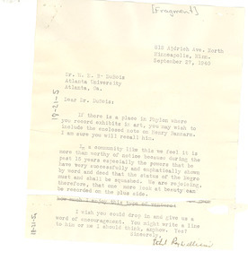 Letter from Ethel Ray Williams to W. E. B. Du Bois