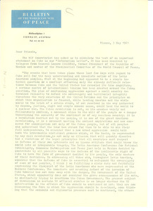 Circular letter from World Peace Council to W. E. B. Du Bois