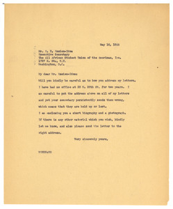 Letter from W. E. B. Du Bois to All Africa Student Union of the Americas